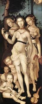 한스 발둥 그리엔(Hans Baldung Grien)   젊음(세명의 그라티아이), 1540 ~ 1543   목판유화, 59.3 x 150.9 c m   프라도 미술관 소장    세명의 미의 여신으로 여성의 아름다움과 젊음을 표현하였다.   아이들의 모습을 보여주며 고귀한 이미지를 주었다