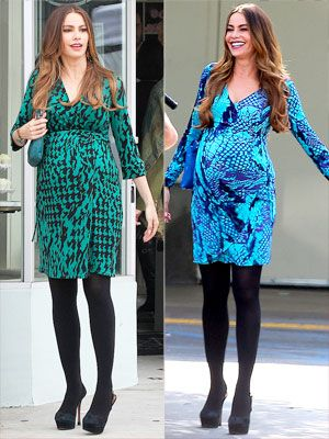 Love Sofia Vergara's faux pregnancy style on Modern Family? We do too! Plus, we have the scoop on the styles she's wearing on set.