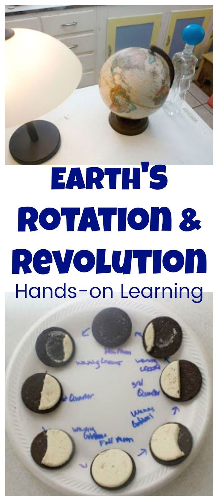 Hands-on Science Activity that can be used to teach how earth's rotation causes days, how earth's revolution causes seasons, and even why we have moon phases!