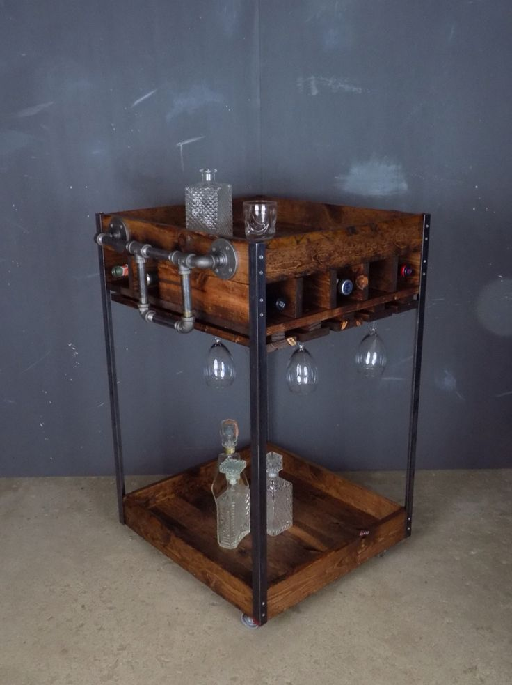 25 best ideas about industrial bar cart on pinterest - Black plumbing pipe furniture ...