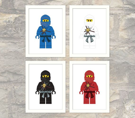 Set of 4 Classic Ninja Prints  Child or Adult  by paper4download