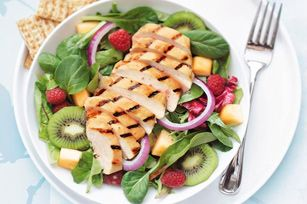 Grilled Chicken and Fruit Salad recipe- made this yesterday for dinner, it was awesome! :)