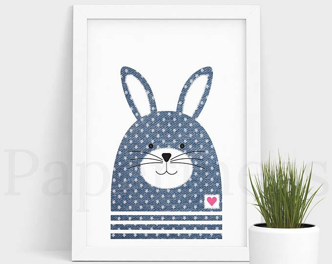 Bunny Print, Baby Animal, Denim With Flowers, Large Printable Poster, Digital Download, Nursery Art, Nursery Wall Art, Baby Room Art