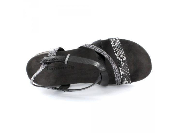 Tamaris - Damen Sandalette mit Reptil-Print und Metallic-Effekt