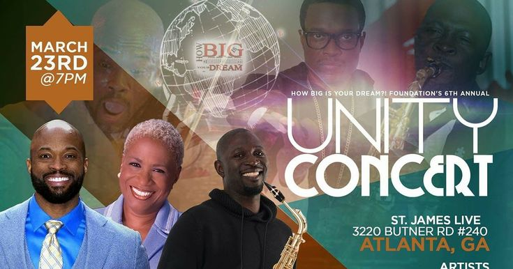 The 6th Annual Unity Concert - Presented by How Big Is Your Dream FoundationJoin JS108Atlanta Global Jazz Radiofor the 6th Annual Unity Concert presented by the How Big Is Your Dream Foundation. The How Big Is Your Dream Foundation an organization to create a learning and performing experience while mastering diverse talents for our youth.  This year's event will be hosted by Monica PearsonformerWSB-TV news anchor. The concertfeaturesspecial musical guests jazz violinist Ken Ford and jazz…