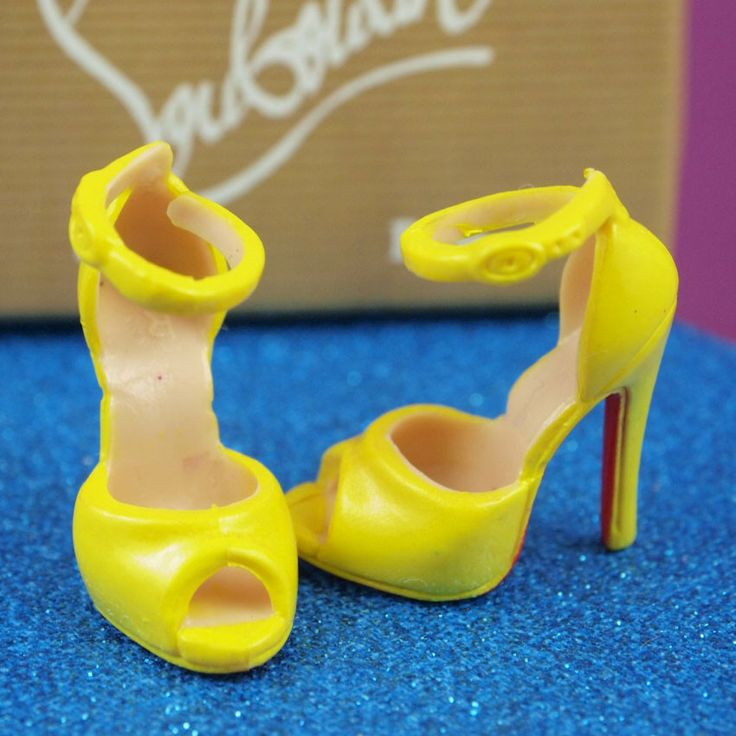 Barbie Christian Louboutin Yellow Strappy Heels - with BOX & BAG!