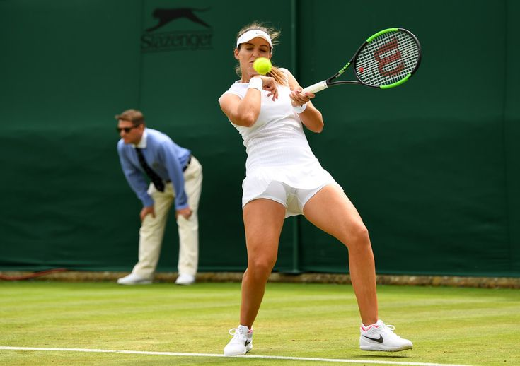 Laura Robson Photos - Laura Robson of Great Britain plays a forehand during the Ladies Singles first round match against Beatriz Haddad Maia of Brazil on day one of the Wimbledon Lawn Tennis Championships at the All England Lawn Tennis and Croquet Club on July 3, 2017 in London, England. - Day One: The Championships - Wimbledon 2017