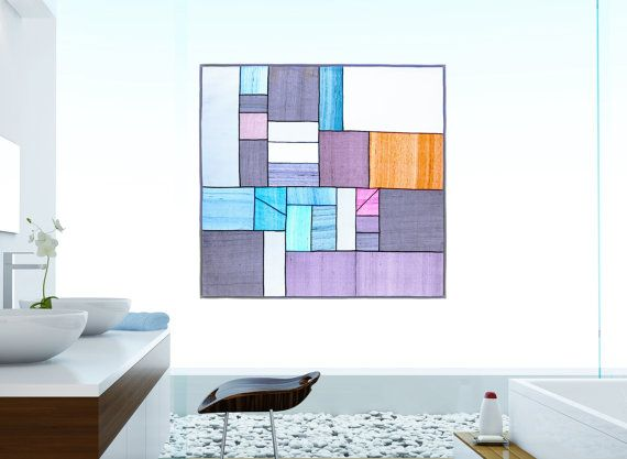 Mondrian's composition inspired design - Covering window décor/ stained glass effect/ sheer shade. Korean fabric art, Jogakbo