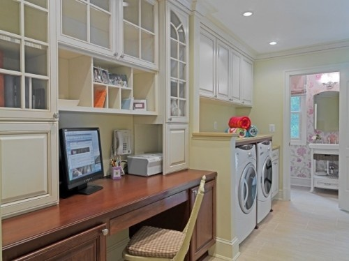 Cute laundry space--complete with a bathroom off of it, and a desk...so I could wash clothes while spending endless hours on Pinterest! ;)