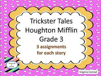 There are three activities for each of the 3 trickster tales. Skills covered:  use of a Venn diagram to compare/contrast characters, sequencing, retelling, antonyms, synonyms, character actions, writing project, rhyming words, and syllables.  Minimum amount of preparation and you will have some additional items to add to your unit on the trickster tales in the Third Grade Houghton Mifflin basal--Book 1.