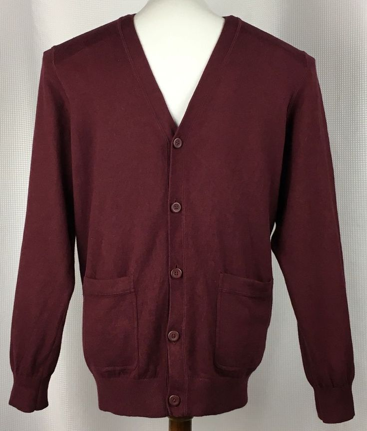 LL Bean Mens Cardigan Sweater Size Large Cotton Cashmere Blend Button Front Red #LLBean #Cardigan