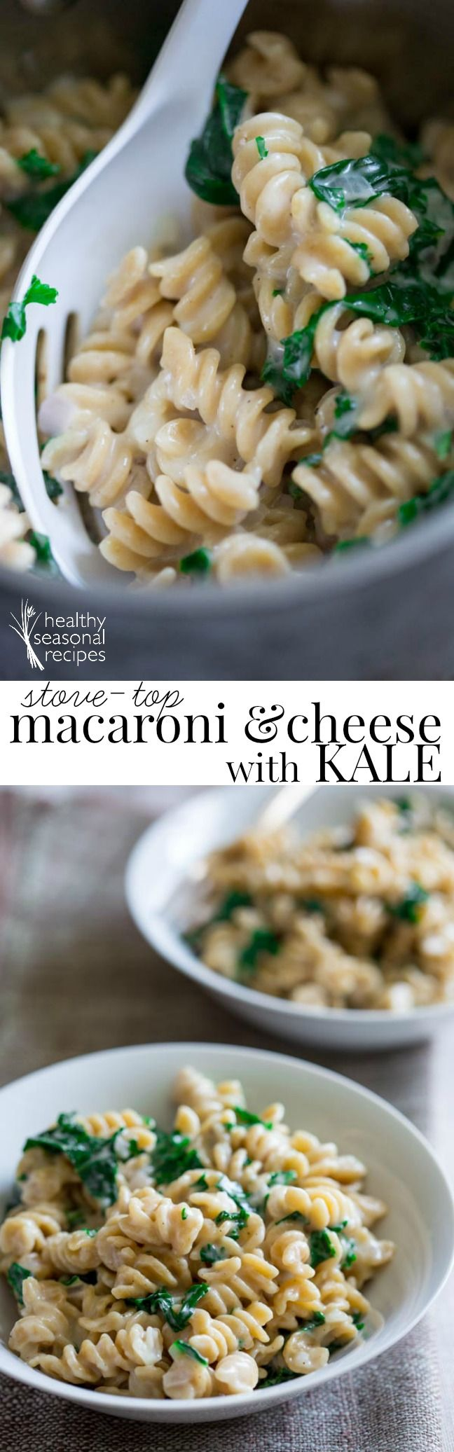 healthy stove-top macaroni and cheese with kale - Healthy Seasonal Recipes