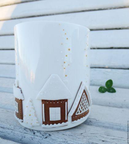 Кружки и чашки ручной работы. Ярмарка Мастеров - ручная работа. Купить Кружка Пряничный городок с декором из полимерной глины. Handmade.