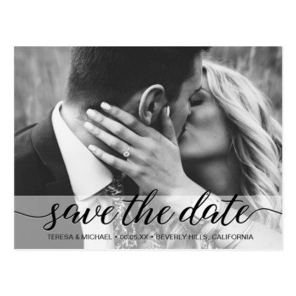 Save the Date Photo Collage Engagement Chalked Postcard - script gifts template templates diy customize personalize special