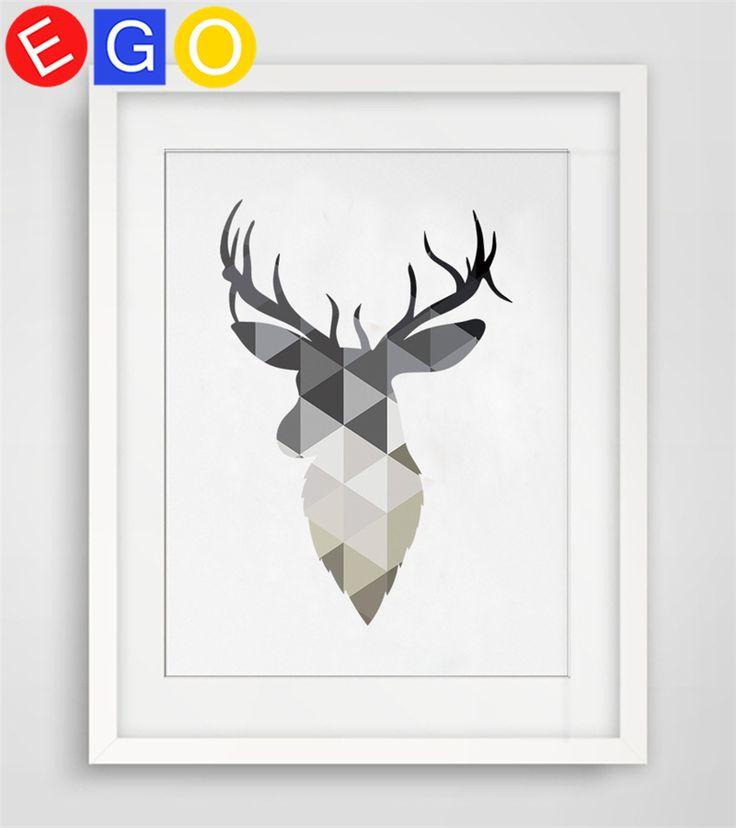 Nordic геометрическая животных голова Оленя лося оленей Печать на Холсте Живопись Плакат картины маслом стены картину детская комната home decor