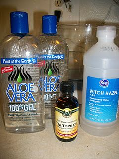 Homemade hand sanitizer:  In Glass Bowl, Mix:  12 oz. pure Aloe Vera Gel,  3/4 tsp. Tea Tree Oil (for anti-bact.),  Add witch hazel til desired consistency.  Add essential oil if you want to improve the scent.