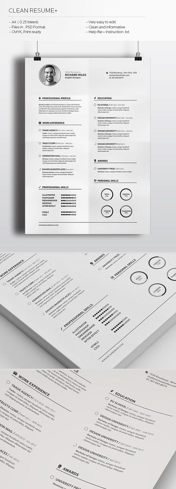 Clean Resume+ by Realstar , via Behance