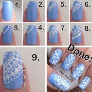 lace nail diy