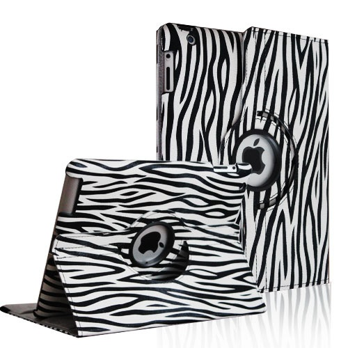 iPad 2 iPad 3 iPad 4 Black Zebra PU Leather 360 Rotating Case Smart Cover | eBay