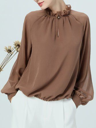 Shift Casual Chiffon Paneled Balloon Sleeve Stand Collar Blouse