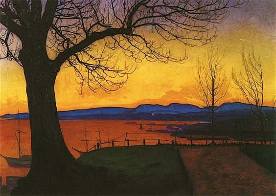 Harald Sohlberg, Evening, Akershus, 1913