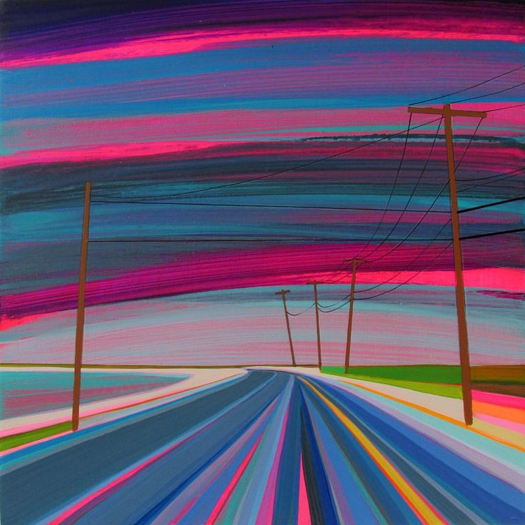 """Starry Starry Night"" #granthaffner #acrylicpainting #starrynight #art #fineart #contemporaryart #modernart #newlandscape #landscapepainting #pinkandblue #line #color #mood #drive #ontheroad #starrystarrynight #remember"