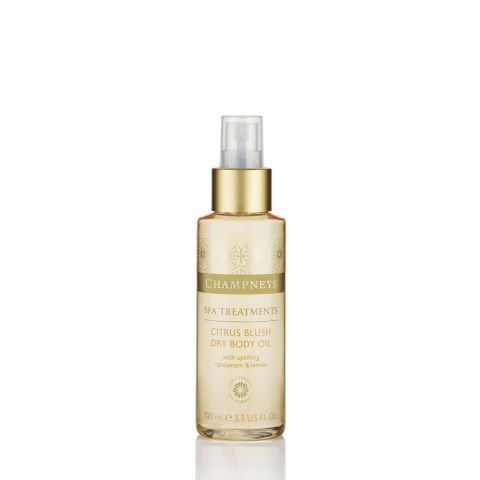 Spray on this velvety cardamom and lemon-scented dry oil post-shower to combat dryness; it's made from a skin-softening trifecta of natural soybean, rice bran, and sesame seed oils. Champneys Citrus Blush Dry Body Oil, $7.99.