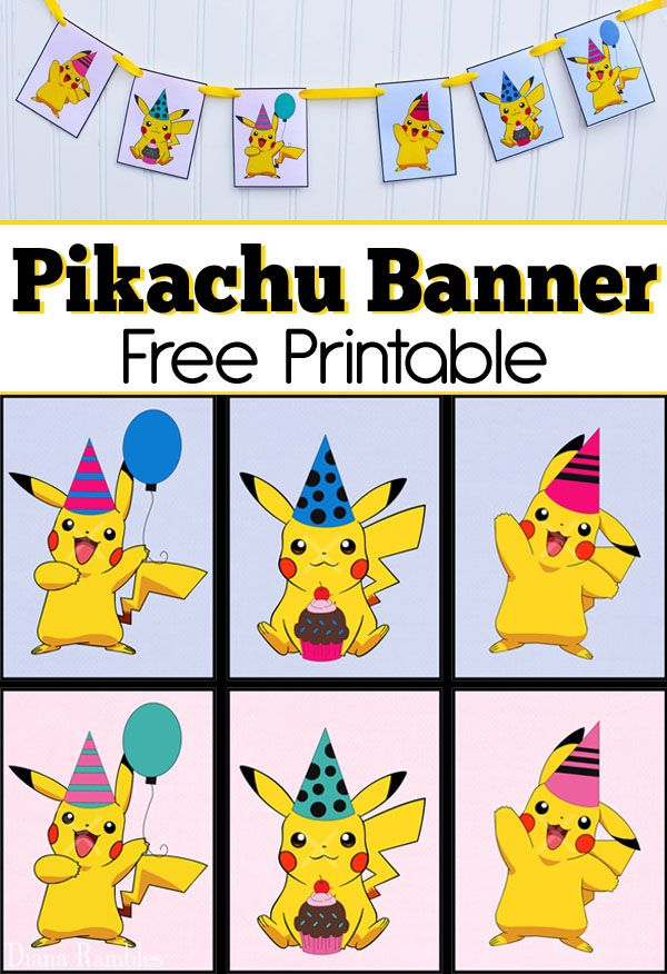 Pikachu Party Banner Free Printable Download - Throwing a Pokemon Party? Print out these free Pikachu Party Banner printables to create cute Pokemon Birthday Party Decor. #Pikachu #Pokemon #freeprintable