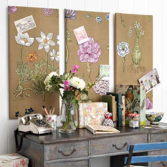 Hang two or three covered boards on the wall behind your desk or table.  http://www.housetohome.co.uk/articles/craft/how-to-make-a-noticeboard_531890.html