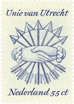 55ct post stamp. The Netherlands. 1977. 400th Anniversary of the Union of Utrecht. Design by Gerrit Noordzij