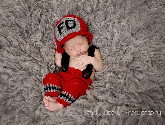 Free shipping Newborn photo prop-crochet baby firefighter set-fireman hat-newborn suspender pants 0 - 3 months