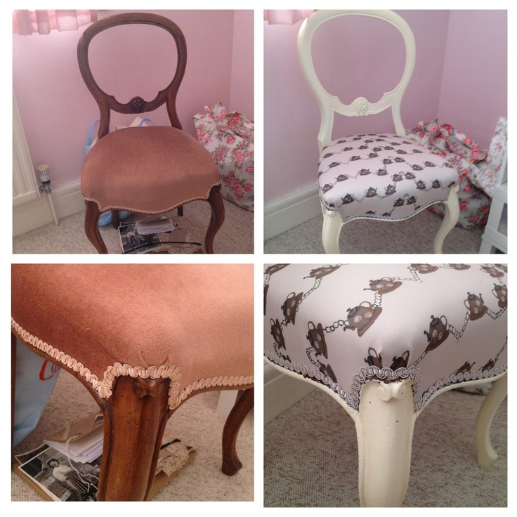 Chair upholstered with tea pot design. - before and after