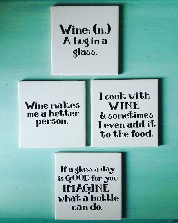 Wine Quote Coasters Ceramic Tile and Vinyl by TreasuresofSavannah