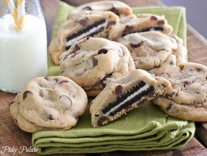 Oreo Stuffed Chocolate Chip Cookies.  I've made these several times.  This recipe from the picky palate works great.  We've also stuffed in nutter butters.  A trick that works for our family is to use the small bite sized oreos so that the cookies are a snack and not a meal :)