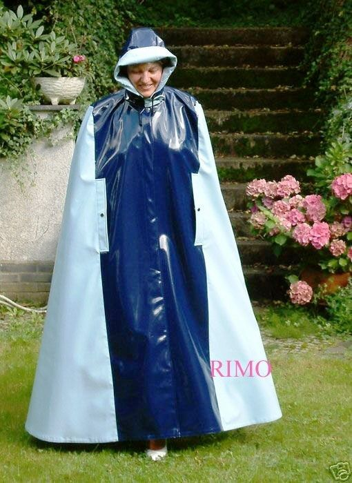 A voluminous pvc cape from RIMO