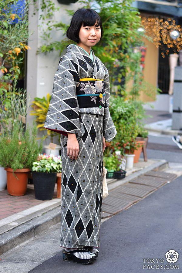 Tokyo street style young girl wearing kimono