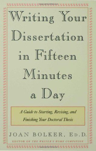 Writing Your Dissertation in Fifteen Minutes a Day: A Guide to Starting, Revising, and Finishing Your Doctoral Thesis by Joan Bolker, http://www.amazon.com/dp/080504891X/ref=cm_sw_r_pi_dp_jQBOqb1ZSMV15
