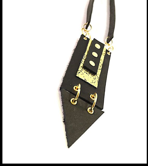 Bold and geometric leather statement necklace with by AnakhaGold