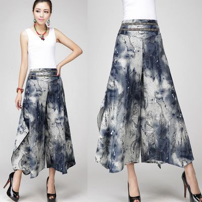 2015 nieuwe plus size vrouw broek wijde pijpen capri linnen hoge taille vintage borduren vrouwen casual broek pantalon femme 13 kleur(China (Mainland))
