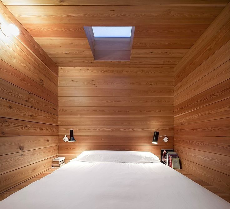 Architecture, Alluring Modern Wooden House In Berrocal, Spain By Ch   Qs Arquitectos Featuring Bedroom Interior Design With White Master Bed And Wall Lamp Plus Bookcase ~ Gorgeous Wooden Retreat with Natural Environment Around