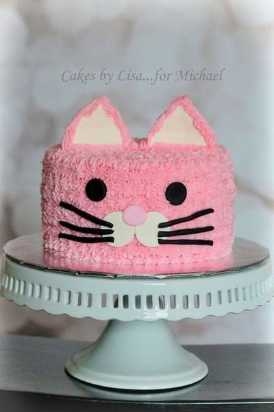 Pink Buttercream Cat Cake:  Cakes By Lisa.......for Michael