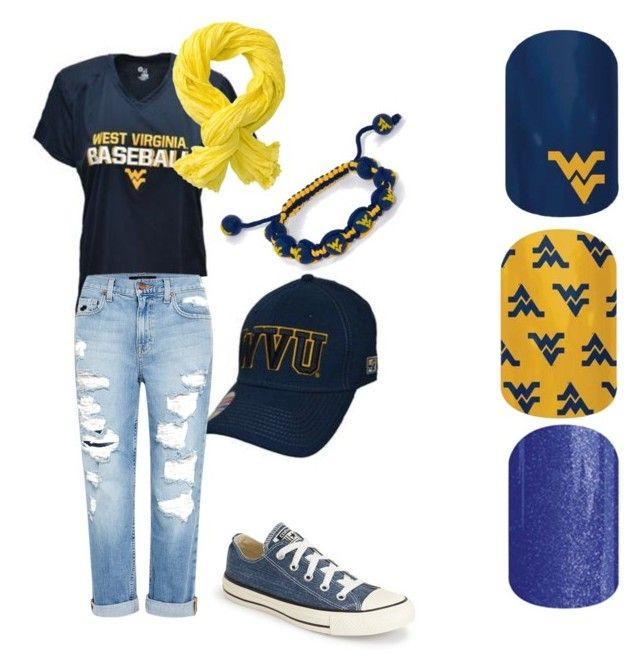 """WVU Mountaineers Jamberry Nail Wraps #WVUJN #bluegold"" by laura-starcher-crna on Polyvore"