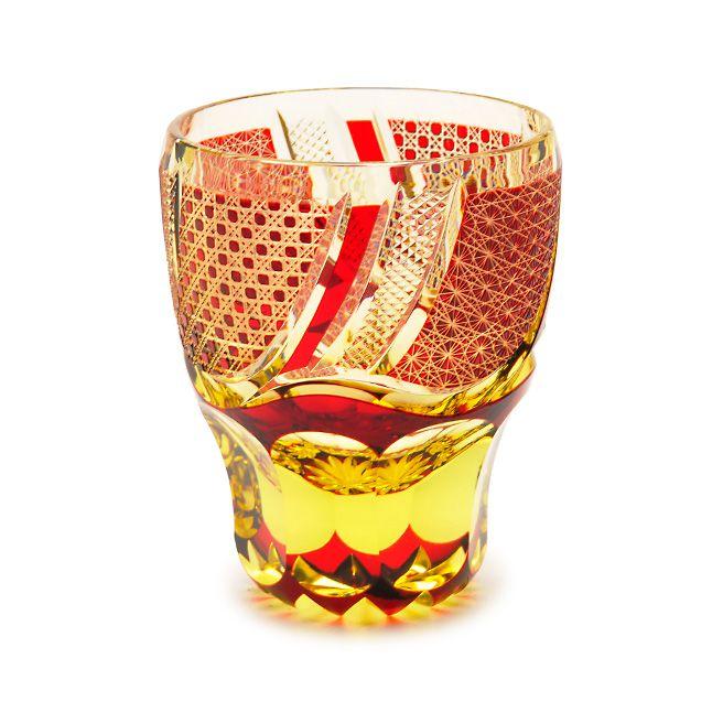 edokiriko Japanese traditional glass art made by Hanashyo(Tokyo) sake glass 江戸切子 華硝 ぐいのみ(酒器)
