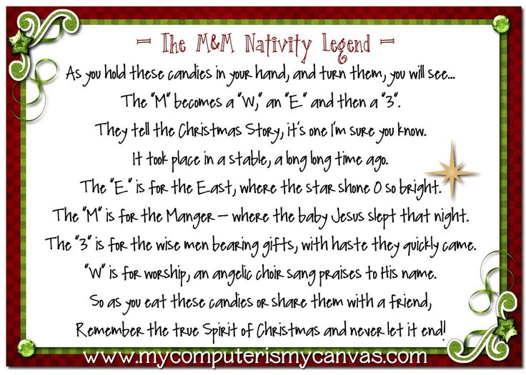 M Nativity Legend Printable with Peppermint Pretzel Melts recipe!