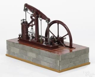 English cast iron walking beam engine with threaded copper tubing indicating possible operation - Price Estimate: $800 - $1200