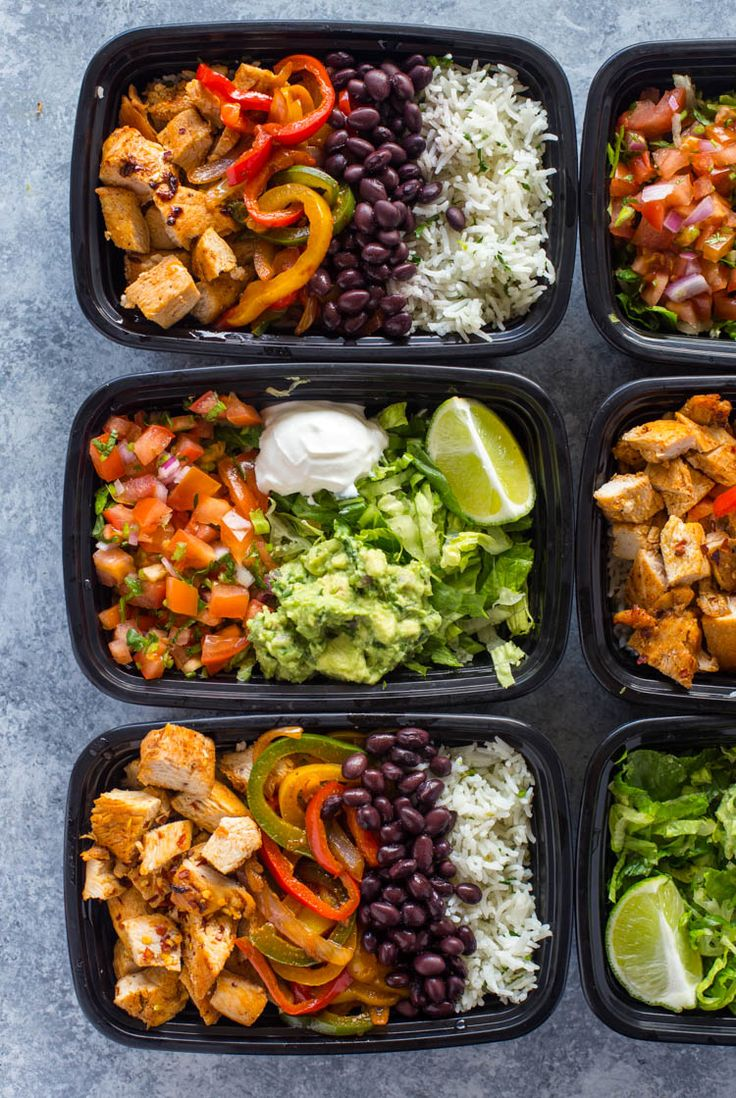 Meal-Prep Chicken Burrito Bowls | Gimme Delicious