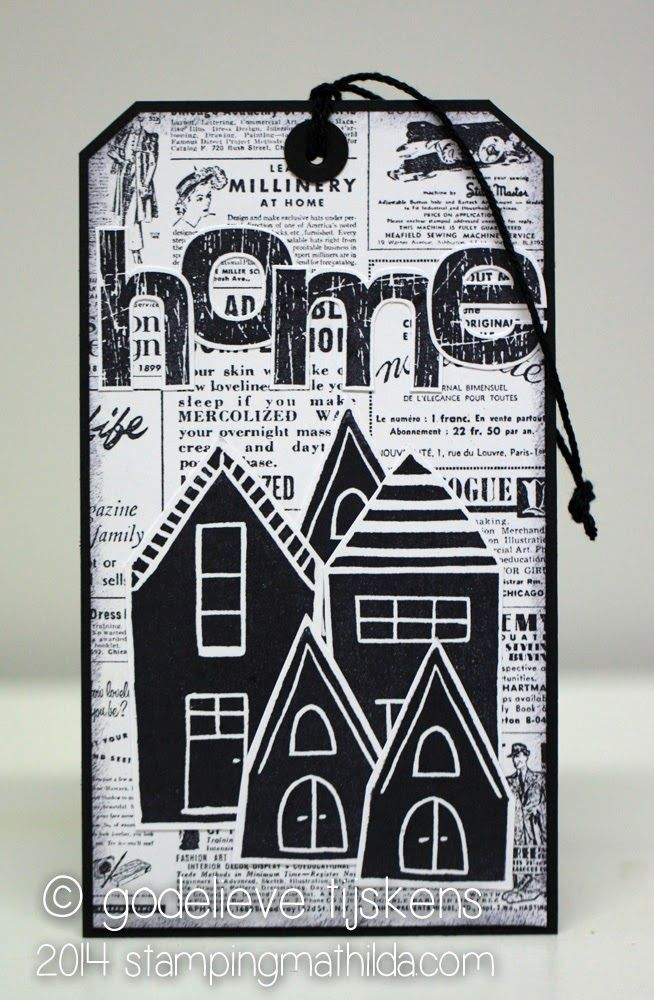 Tag by Godelieve Tijskens using Darkroom Door Carved Houses Rubber Stamps, Scratched Alphabet Rubber Stamps and Gazette Background Stamp!