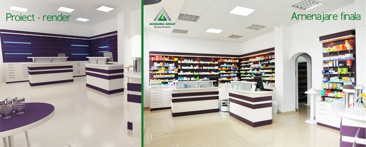Amenajare farmacia Hortensis - de la render la realitate. http://www.sertarefarmacii.ro/proiecte/20-farmacia-hortensis-piatra-neamt