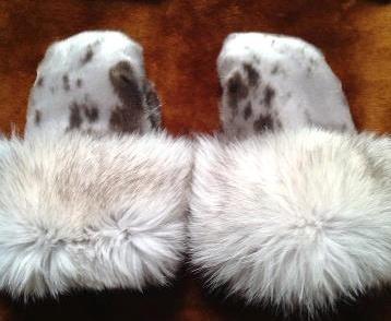 Inuit made sealskin mitts w/ fur trim by Martha Aupaluktuq-Hickes