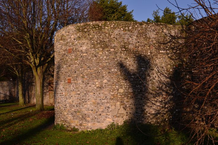 A bastion, erected late in the Roman period, on the town walls of Roman Chichester. Towns generally were not a success in Roman Britain with most of them failing by the middle of the 3rd century AD.